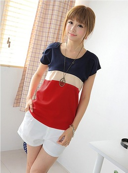free ship 2013 summer o-neck short-sleeve T-shirt female plus size color block decoration loose chiffon fresh haircord t-shirt
