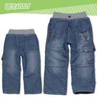 A Fashion Boy More Generous Children Fall And Winter Warm Jeans Casual Pants Free Shipping  1101