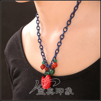 Accessories national trend agate paint fish coral vintage rope tassel design necklace female short