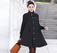 2013 autumn and winter women outerwear plus size woolen outerwear cloak woolen overcoat female loose plus size trench coats