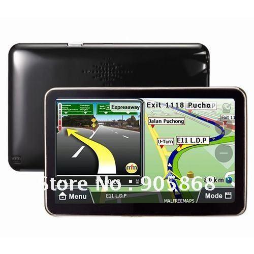 Wholesale Free Shipping New 5 Inch Car Mp3 MP4 FM 64RAM 8GB TF Map GPS Navigation Free Ship SG Post(China (Mainland))