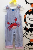 Mud pie blue bubble yarn three-dimensional crab suspenders trousers autumn