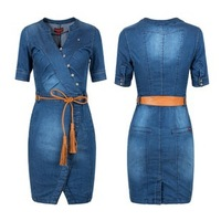 XXXL 2013 summer-autumn saias casual dress V-neck slim plus size denim slim hip denim one-piece dress