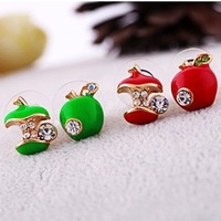 Lovely Apple Earrings Two Colors Free Shipping