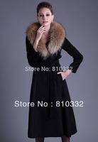Hot Sales!!!! The Women Eropean Noble Large Size Fur Elegant Collar Wool Winter Charming Long Sleeve Slim Belt Ladies Long Coat