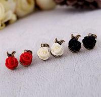 (Min.order is $10 )  Korea Cute RetroStyle Popular Rose flower earring !Free shipping!cRYSTAL sHOP