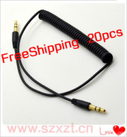 FreeShipping 20pcs Brand New  Gold 3.5mm Jack Male to Male Audio Stereo Aux Spring Cable For  Mobile .computer