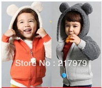 New winter coral velvet sleeve hooded zipper jacket boys and girls free shipping