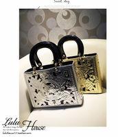 2013 new women's gold handbag cutout carved ol elegant designer high quality shoulder cross body bags brand items free shipping