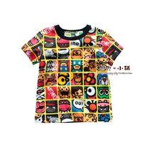Children's clothing 2013 paragraph 100% cartoon print cotton male child short-sleeve T-shirt 100% cotton baby short-sleeve
