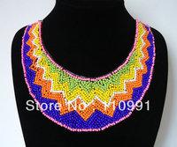 2013 New Design Multicolor Fashion Choker Bib Chunky Beads blue Ribbon Handmade Statement Necklaces Jewelry for women