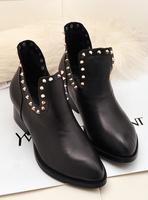 2013 autumn shoes rivet shoes boots genuine leather boots female medium hells shoes female