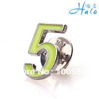 12PCS/Lot CP794-006 Free Shipping light green enamel silver NO. 5 collar pin for men jewelry