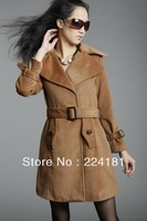 2013 Autumn  Women Turn-down Collar Causal Thick coat Trench coat for women winter trench for desigual costs