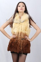 Classic rex patchwork long design vest raccoon fur women's