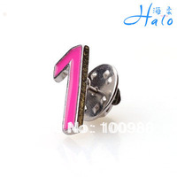 12PCS/Lot P700-013 Free Shipping hot pink Enamel  Arab No. 1 Silver hot sale collar pin for men clothes rhinestone brooch pin