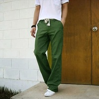 Loose breathable cool linen trousers summer fashionable casual male straight thin linen trousers
