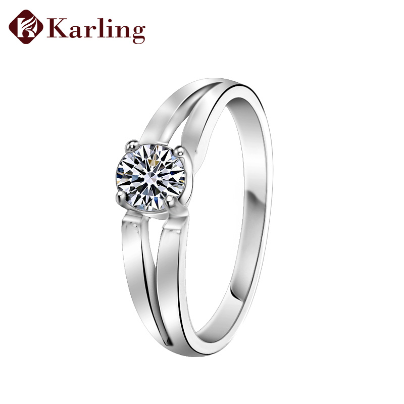 Karling 925 pure silver ring female lovers ring cubic zircon ring silver marriage