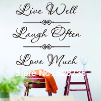 """live well laugh often love much""live laugh love quote wall decals home decor wall stickers,wholesale stickers, free shipping"