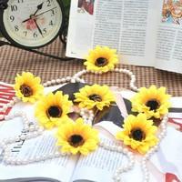8cm Sunflower Heads Yellow Artificial Silk Flowers Head For Wedding Decoration DIY Free Shipping(100pcs/lot)