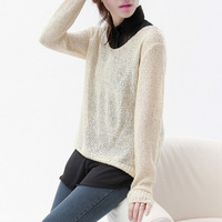 Free Shipping  2013 women's spring casual elegant turn-down collar cutout sequin sweater shirt twinset ad384