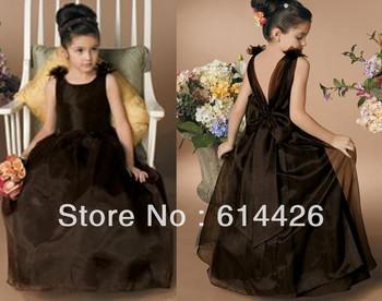 cheap flower dress Custom Made Bow A-Line flower girl dresses for weddings toddler pageant gowns al4701