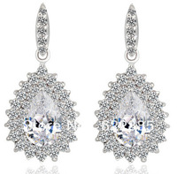Free Shipping pouplar platinum Peacock CZ stones Cluster Stud Earring For Women Fashion Wholesale
