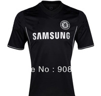 Free shipping!13/14 Chelsea away black soccer jersey TOP thai quality football jersey  sport shirt  free name and number