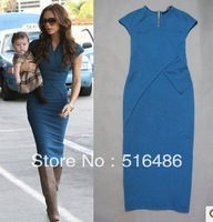 Женское платье Women's Gorgeous Star Victoria Beckham Vintage Sleeve Mid-Calf Slim Dress plaid