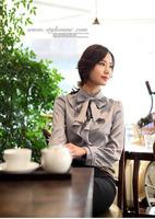 Ladies Elegant Satin Ruffle Bow Collar Blouses Women Career Formal Office Shirts