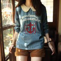 Autumn cute shirt button back embroidery anchor peter pan collar long-sleeve denim shirt female