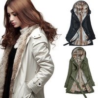 FREE shipping 2013 winter outerwear women's wool liner trench medium-long thermal thickening wadded jacket overcoat women's