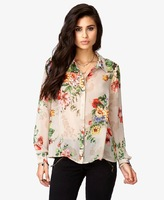 Blouses & Shirts2013 new women chiffon print \ street casual flower print long-sleeved collar shirt