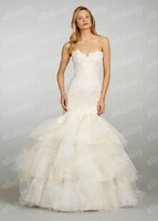 Mermaid Trumpet Strapless Organza Tiered Skir Print Flower At-side Design Wedding Dresses 2013