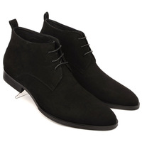 New arrival high quality nubuck cowhide high men's genuine leather breathable pointed toe boots the trend of fashion low men's