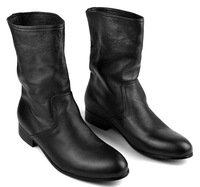 The trend of casual sleeve boots cowhide fashion medium-leg handsome male boots denim boots