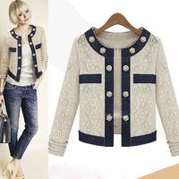 Women's Fashion Color Block Long Sleeve Button Lace Short Coat Jacket Outerwear 2Sizes key014