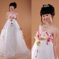 vestido de noiva 2014   fashionable silk flower high waist maternity maternity       custom  wedding dress bridal gown