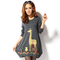 2013 women's autumn grey print casual fashion basic shirt o-neck loose female long-sleeve t-shirt