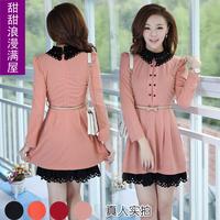 2013 spring and autumn women's elegant r3728 gentlewomen elegant sweet laciness long-sleeve dress slim