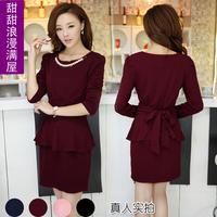 2013 spring and autumn women's sweet gentlewomen r8728 elegant slim waist ruffle long-sleeve dress