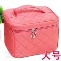 Free shipping New Good Zipper Cosmetic Storage Makeup Bag 6colors Handle Train Case Purse Foldable bag