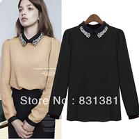 Girls Long Sleeve Plain Top Diamond Embellished Turndown Collar Chiffon Shirt Black Free Shipping