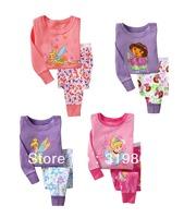 Wholesale DIY kids Lounge wear suit kids Pajamas dora girls sleep set (2-7t) 24sets/lot 4designs Free Shipping Fast Delivery