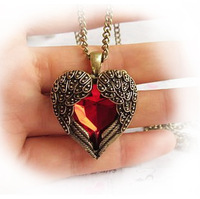 Wholesale Girls long vintage bronze ruby red wing rhinstone heart necklace royal carved sweater chain for woman Free Shipping