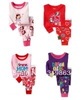Wholesale princess kids Lounge wear suit kids Pajamas dear girls sleep set (2-7t)24sets/lot 4designs Free Shipping Fast Delivery