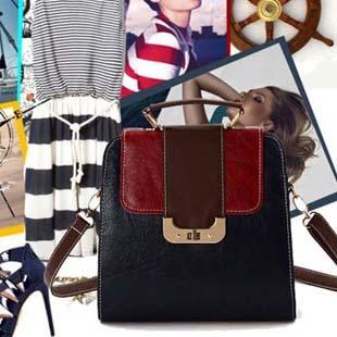 Vintage fashion vintage bag backpack female bags messenger bag handbag color block