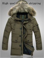 2013 men's new coltsfoot men's down jacket men more long down jacket free shipping