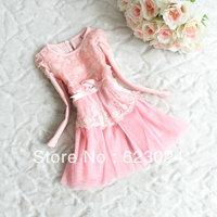 Wholesale girls winter dress, princess lace dress,4pcs/lot