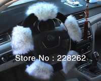 New Steering Wheel Cover Car Accessories Winter Authentic Sheep Wool Plush Car Steering Wheel Cover KIA Free Shipping